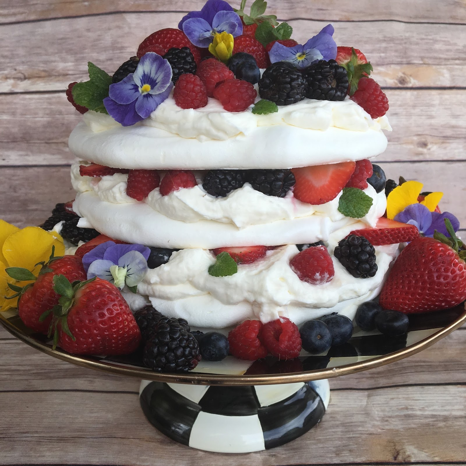 Layer upon layer of meringue is stacked with a