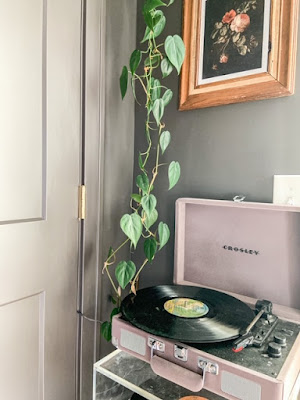 record player in dining room