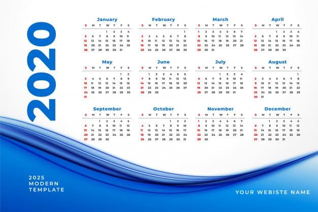 Moderno calendario 2020 Azul