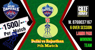 7th Match DC vs RR IPL 2021 Today Match Prediction 100% Sure Winner