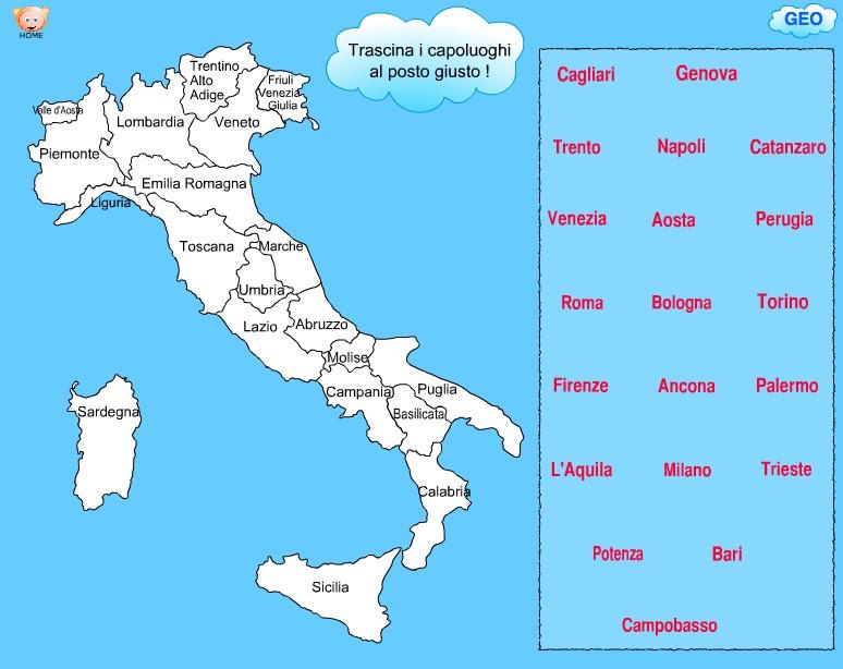 Cartina Politica Italia Con Capoluoghi Da Stampare.Cartina D Italia Da Colorare