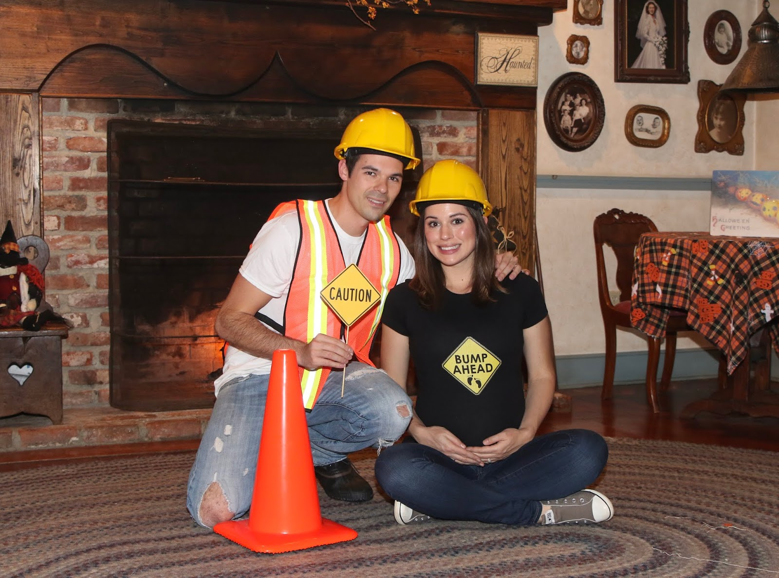 maternity halloween costume construction workers