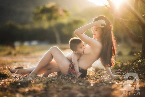 Topless photoshoot mother breastfeeding fever