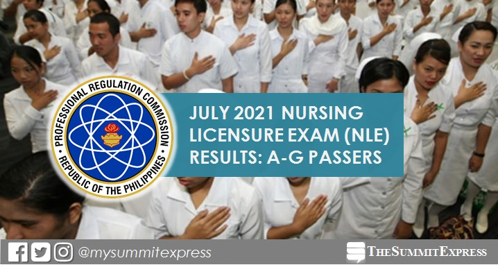LIST OF PASSERS: A-G July 2021 NLE nursing board exam result