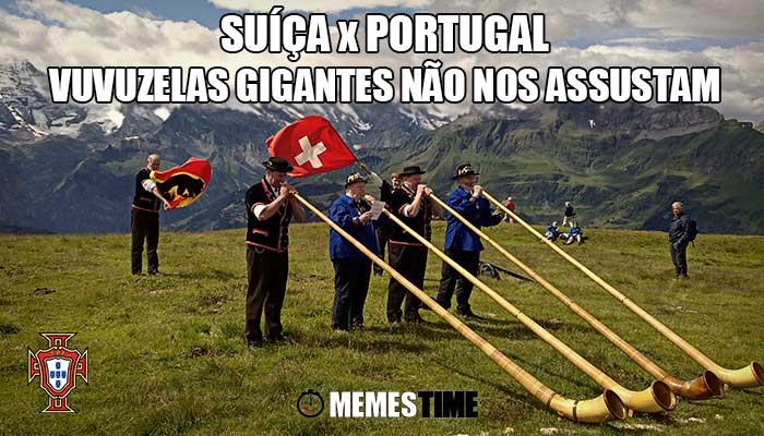 Memes Time Primeiro jogo de qualificação para o Mundial Rússia 2018: Suíça Portugal – Suíça X Portugal: Nem as Vuvuzelas Gigantes nos Assustam