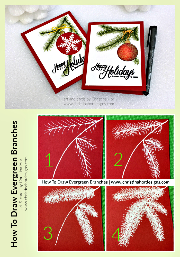 PIN how to draw evergreen holiday card christina hor designs