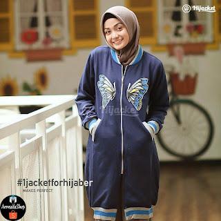 Jaket Muslimah Hijacket Rose Butterfly GREY BLACK NAVY PINK Hijacket Original