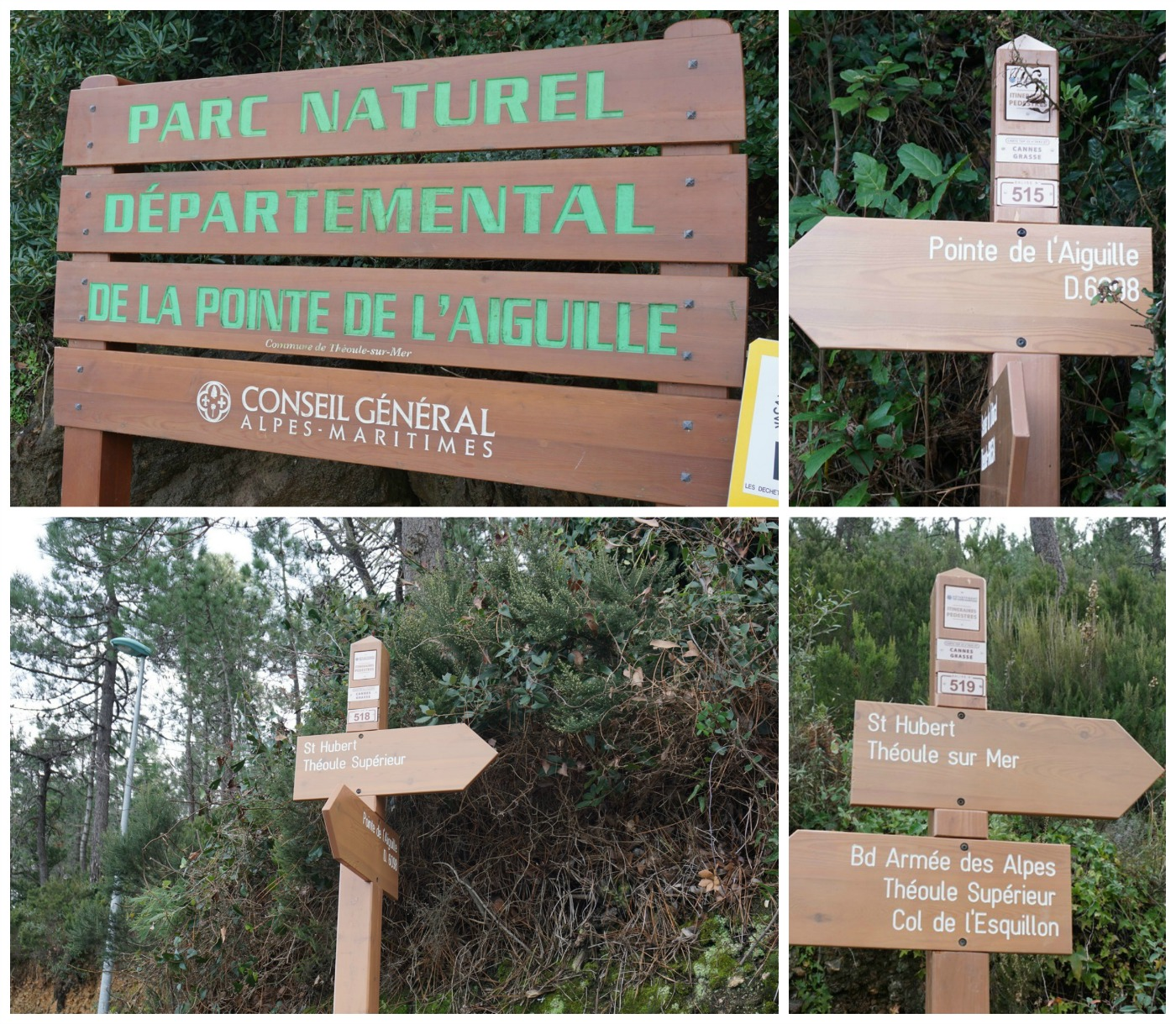 Signposts along the trail above Théoule-sur-Mer