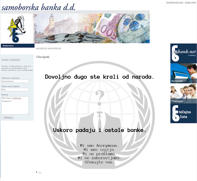 Croatian Banks hacked by Anonymous
