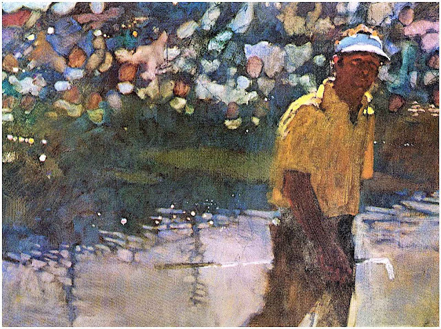 a Bernie Fuchs illustration about professional golf