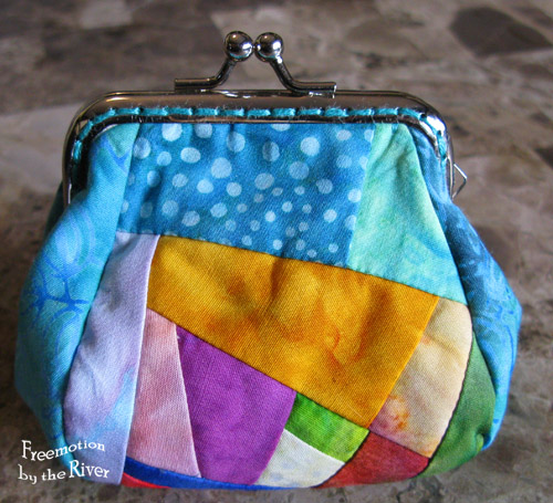 Batik crazy quilt coin purse @Freemotion by the River