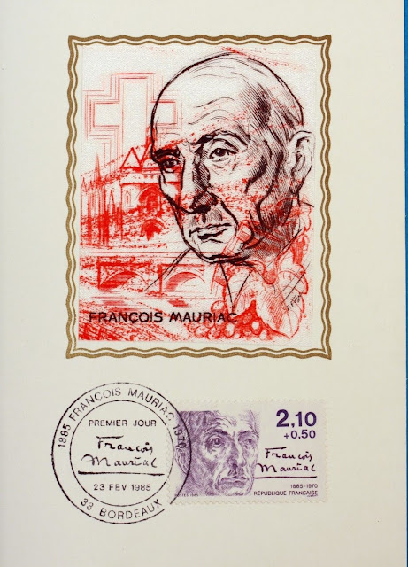 François Mauriac, French novelist, poet, and playwright, Nobel Prize laureate France 1985 Maximum Card