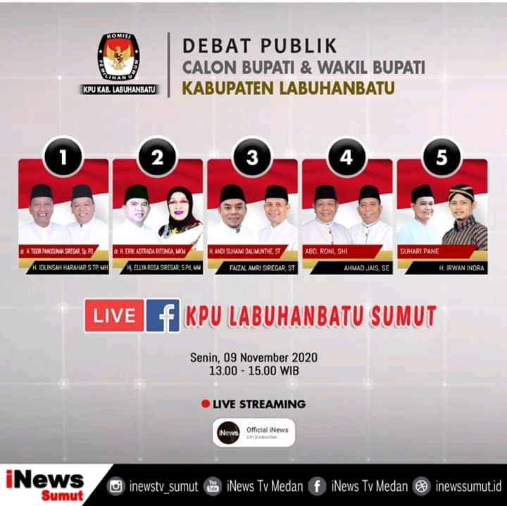 Debat Publik Paslon Bupati dan Wakil Bupati Labuhanbatu  Putararan Kedua Dilaksanakan Di Hotel Suzuya Rantau Prapat