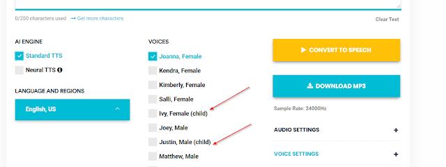 Buat suara anak kecil di Voicemaker.in