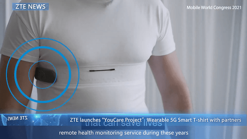 YouCare is an innovation that enables health monitoring using a t ZTE revealed a Smart T-shirt with 5G that can track vital health data