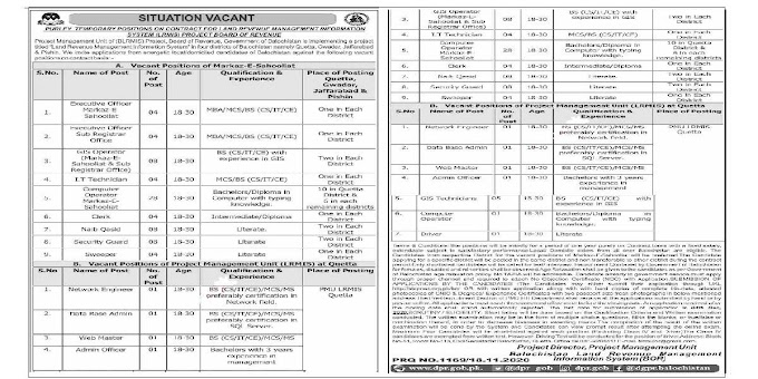Land Revenue Management Information System LRMIS BoR Quetta Balochistan Jobs 2020