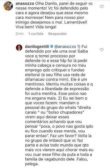 Danilo Gentili x bolsonarista no Instagram. Café com Jornalista
