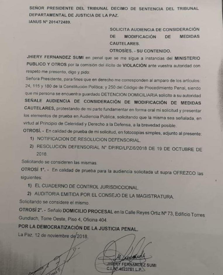 Memorial de Fernández que pide audiencia para modificar su situación procesal / PÁGINA SIETE