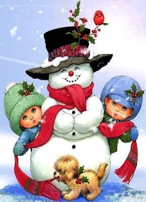 Dibujo de muñeco de nieve junto a un perro y niños (mujer y hombre)