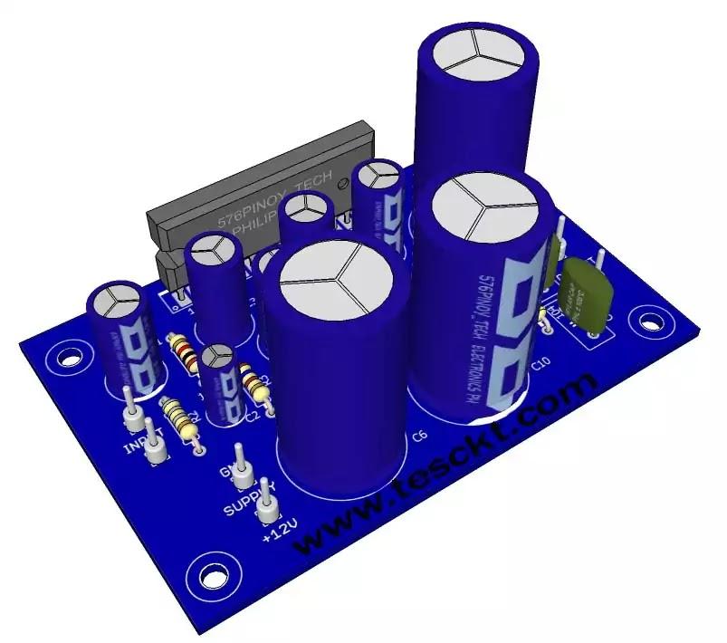 la4440 amplifier pcb 3D