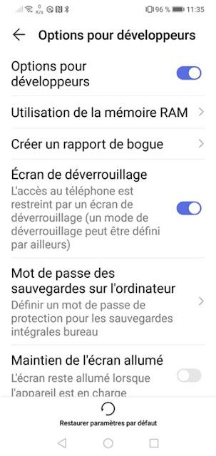 Android - Options pour les développeurs réapparaît