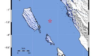 Gempa Bumi Tektonik M=4.9 Terjadi di Kepulauan Mentawai Jum'at Dini Hari