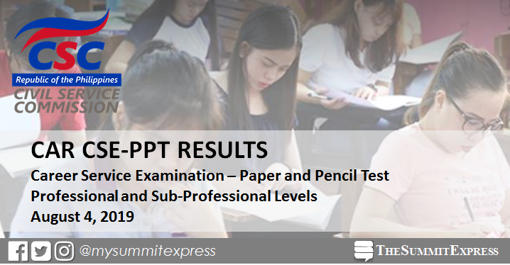 CAR Passers: August 2019 Civil Service Exam results CSE-PPT