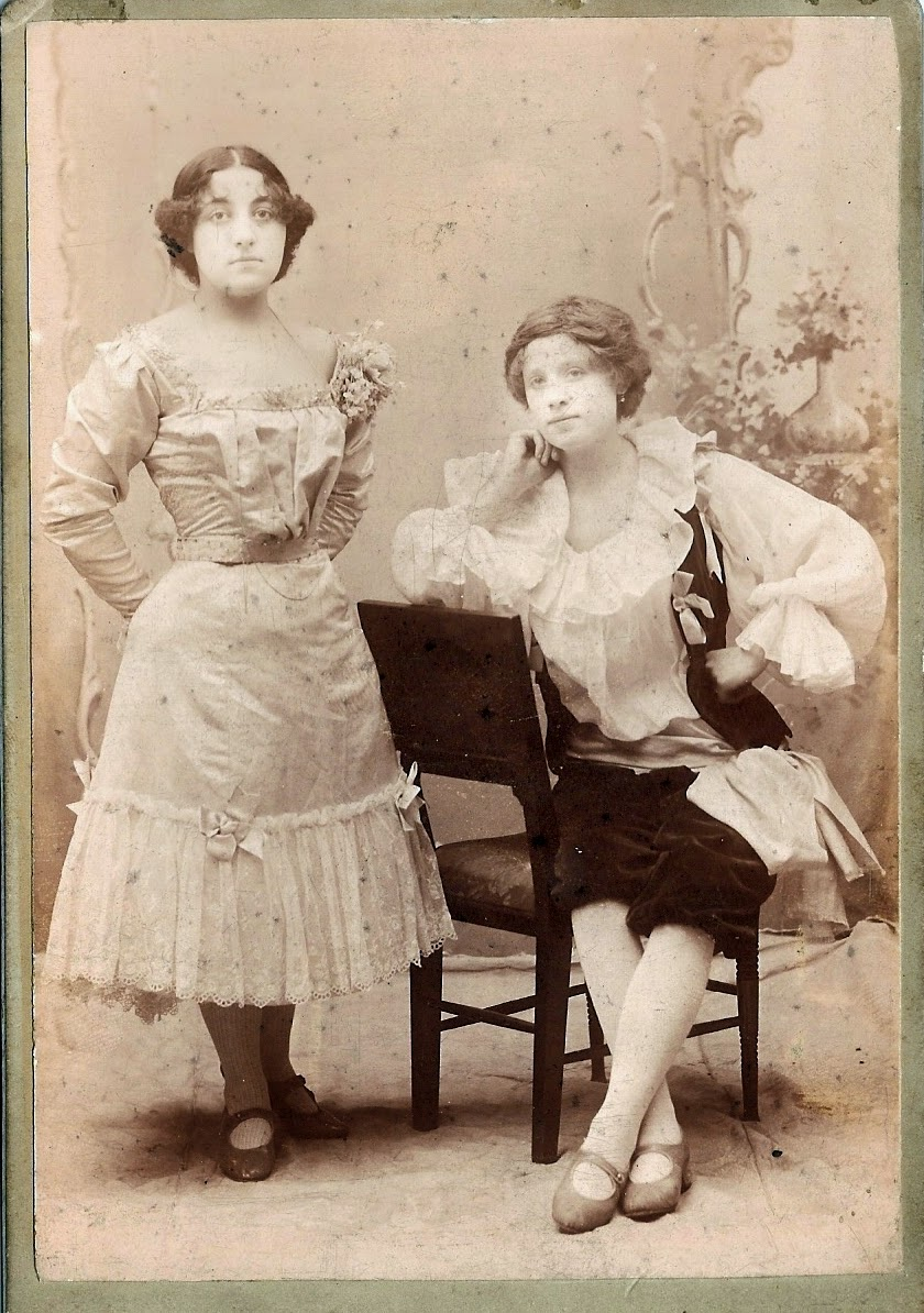Sisters Milton in costume for music hall act.