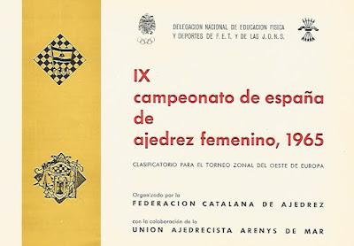 Portada del folleto del IX Campeonato de España Femenino 1965