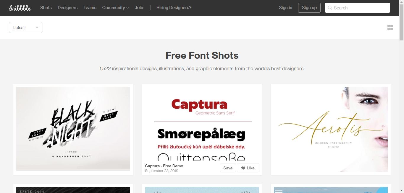 Dribbble-best font websites