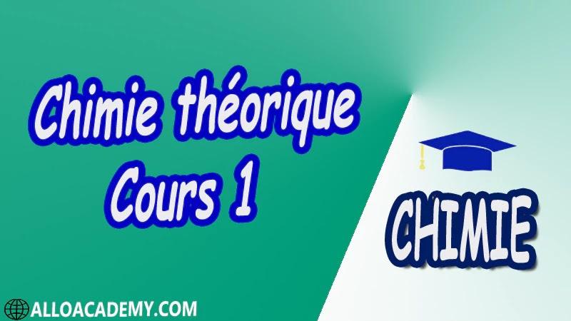 Chimie théorique - Cours 1 pdf