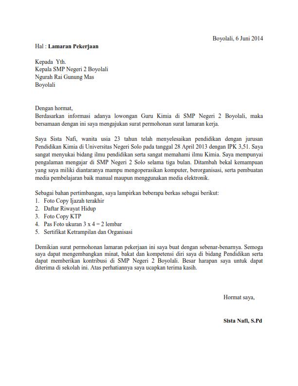 Contoh Surat Lamaran Kerja Honorer Di Pengadilan Agama Id Lif Co Id