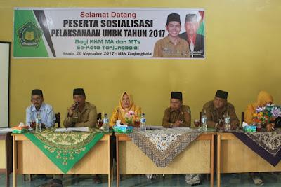 Plt. Kakankemenag Tanjungbalai Hadiri Acara Sosialisasi Pelaksanaan UNBK Tahun 2017