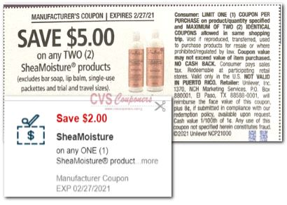 "Sheamoisture Coupon from ""RetailMeNot"" insert week of 2/14/21"