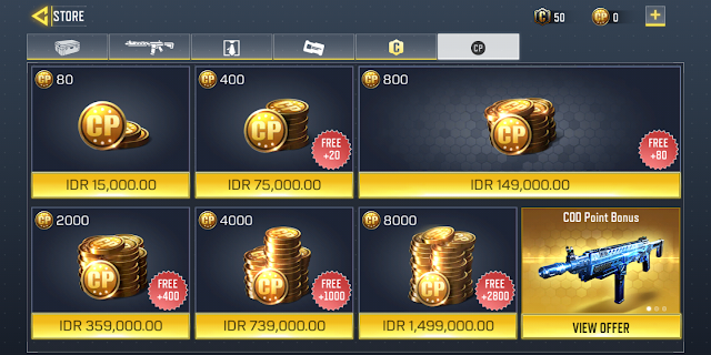 How to top up CP COD with credit