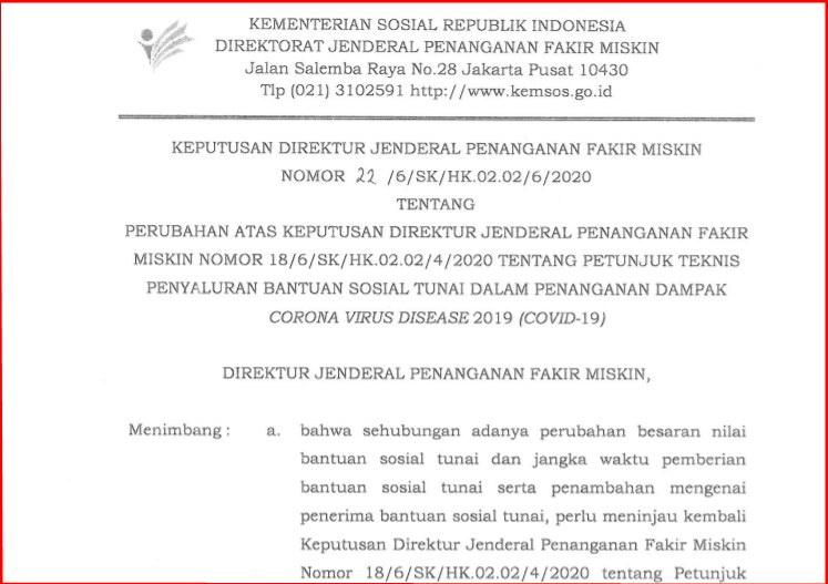 Surat Kemensos tentang Perpanjangan Penyaluran BST Hingga Desember  Surat Kemensos tentang Perpanjangan Penyaluran BST Hingga Desember 2020