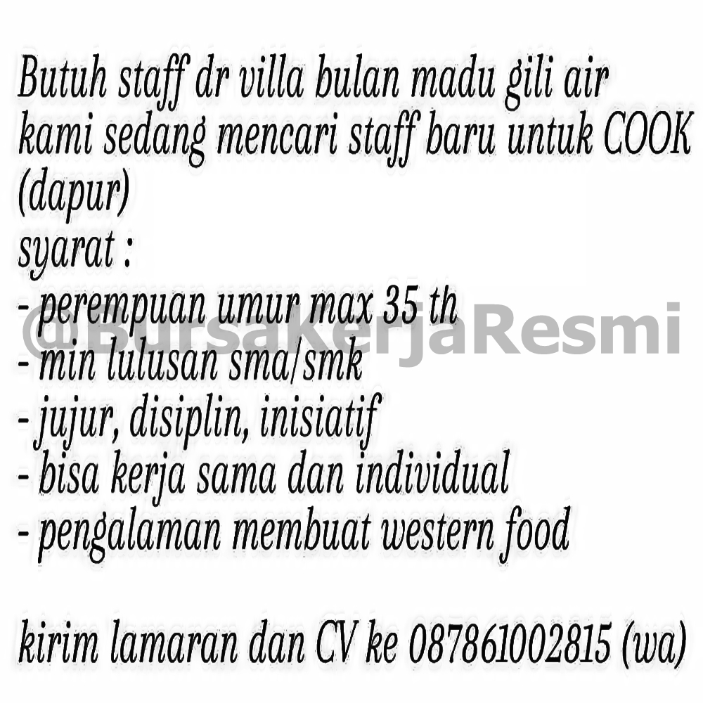 Lowongan Kerja Villa Bulan Madu Mataram Lombok Ntb Nesianet