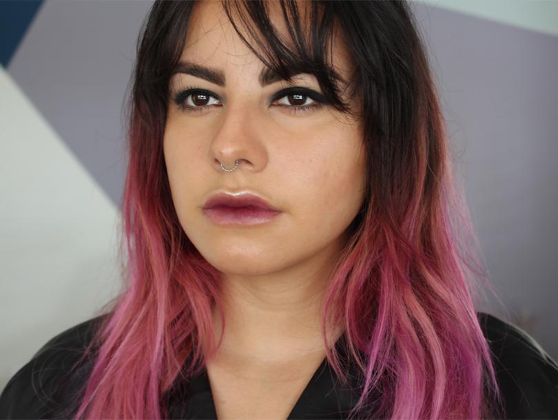 glam grunge punk black smokey eye makeup look tutorial pink hair nars manic panic