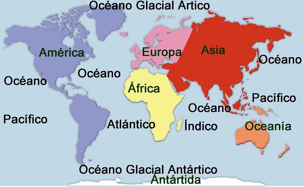 mapa dos oceanos e continentes Geohistoriados: Mapas de los continentes y los océanos, mapa de  mapa dos oceanos e continentes
