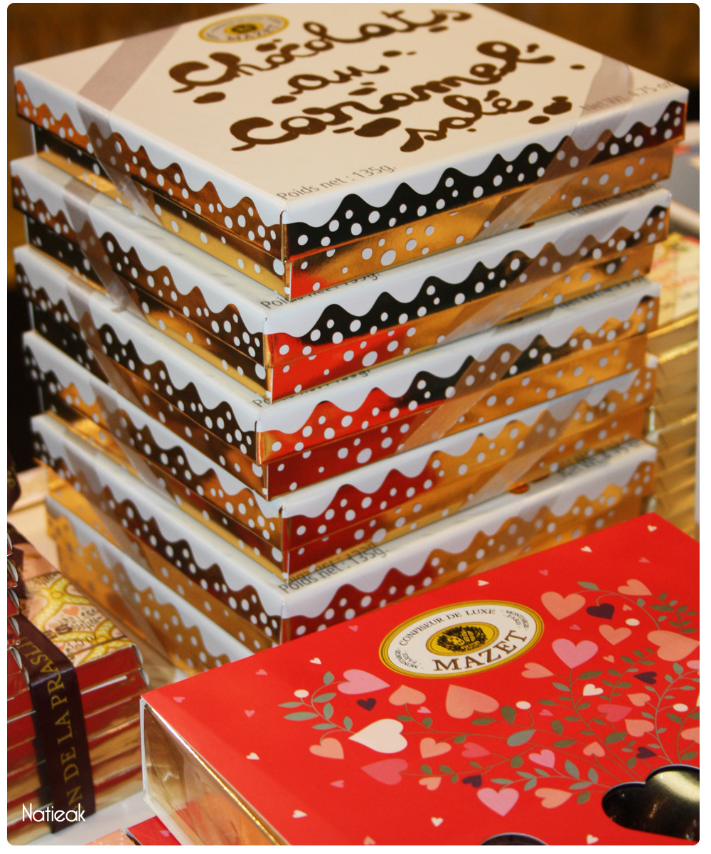 boites d'assortiments: boite cœur et chocolat au caramel salé de Mazet