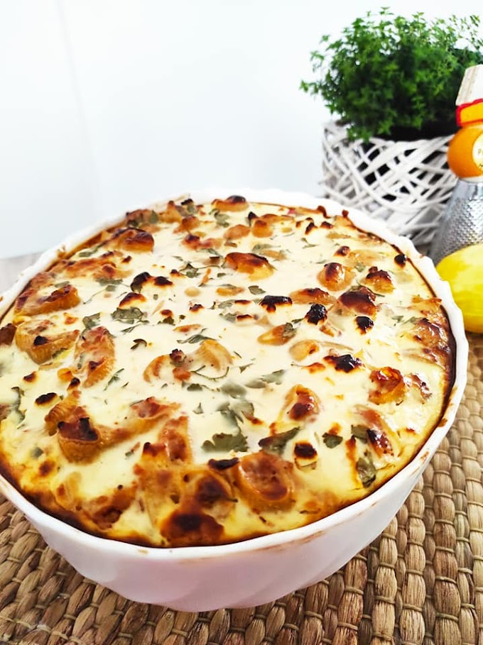 Κοχύλια με κιμά και σάλτσα γιαουρτιού στο φούρνο