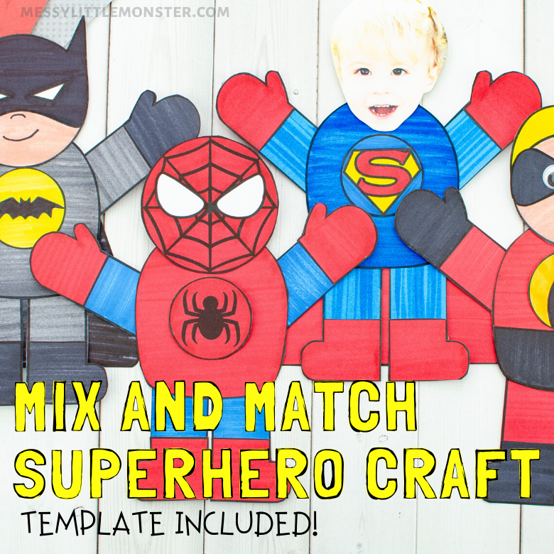Mix and match superhero craft and printable superhero template