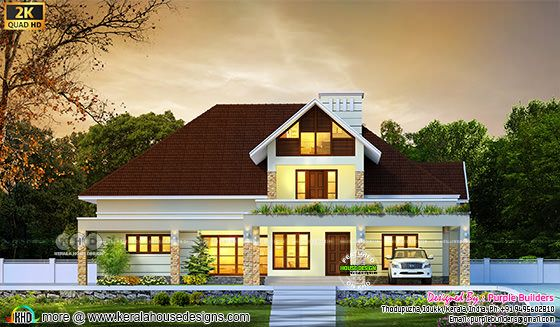 Sloping roof single floor house design with 4 bedroom