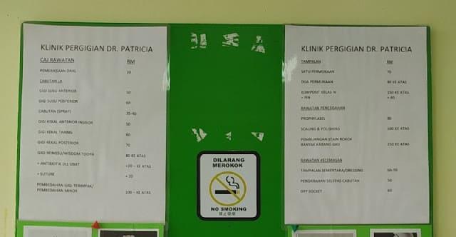 Harga Rawatan di Klinik Pergigian Swasta