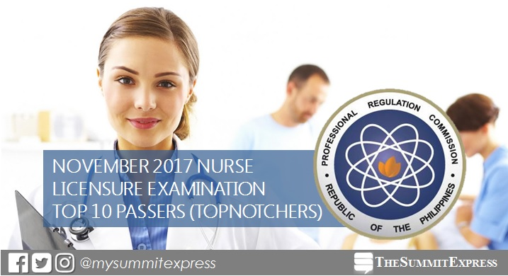 RESULTS: November 2017 Nursing board exam top 10 passers