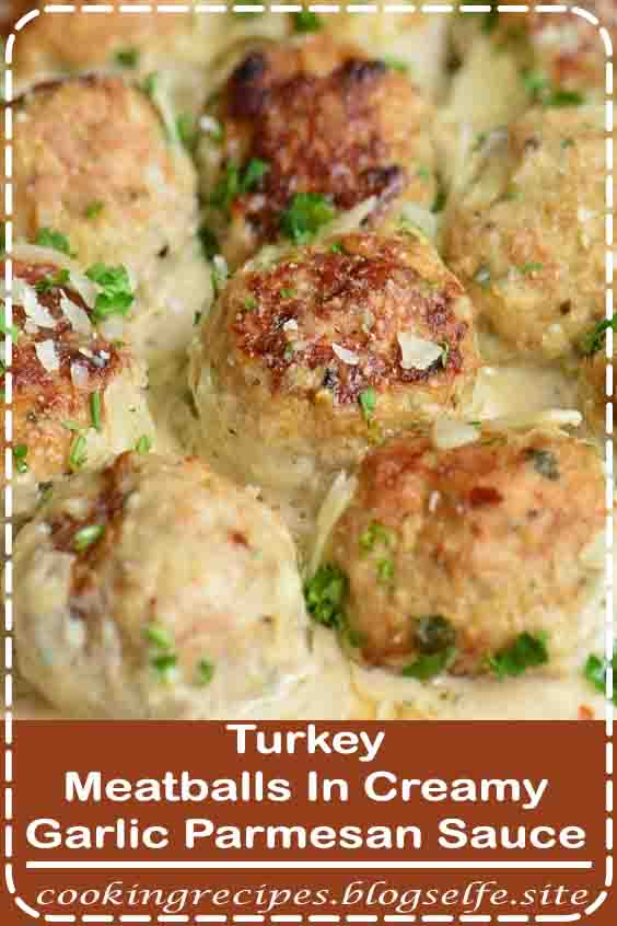 4.8 ★★★★★ | Juicy Turkey Meatballs are packed with flavors of garlic, Parmesan cheese, and herbs. Paired perfectly with a simple Garlic Parmesan Cream Sauce. #easy dinner recipes #meatballs