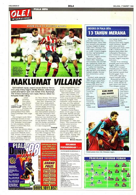 ASTON VILLA VS ATLETICO MADRID MAKLUMAT VILLANS