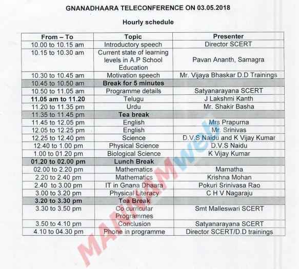 Gnanadhara aTeleconfarence on 3/5/18 ,Time table instructions ,Rc.21Dt.1/5/18
