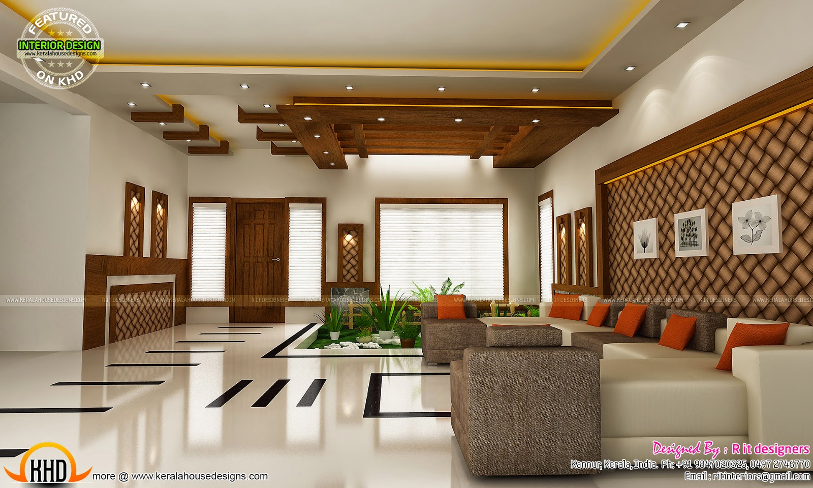 Modern and unique dining kitchen interior kerala home for Interior decoration living room roof