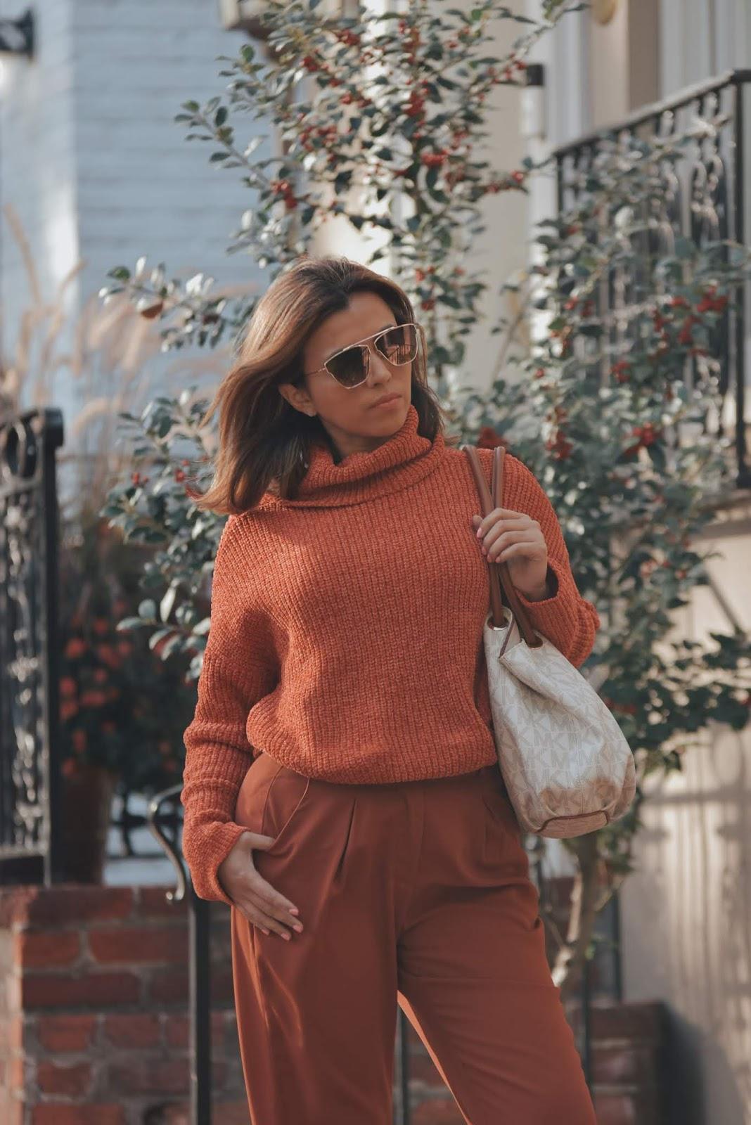Rust Turtleneck Velvet Cable Knit Pullover Sweater-MariEstilo-DCBlogger-Youtuber de moda-fashionblog